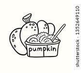 pumpkin and pumpkin puree in a... | Shutterstock .eps vector #1352649110