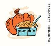 pumpkin and pumpkin puree in a... | Shutterstock .eps vector #1352649116