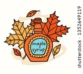 tasty doodle maple syrup and... | Shutterstock .eps vector #1352649119