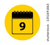 9 calendar yellow vector icon   ... | Shutterstock .eps vector #1352691863