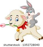 Stock vector cartoon happy bunny riding a lamb 1352728040