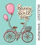 romantic birthday card | Shutterstock .eps vector #135273740