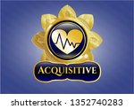 shiny badge with heart with... | Shutterstock .eps vector #1352740283