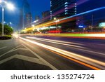 the light trails on the modern... | Shutterstock . vector #135274724