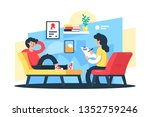 flat young man and woman... | Shutterstock .eps vector #1352759246