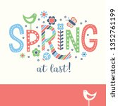 spring doodle text design with... | Shutterstock .eps vector #1352761199