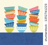 stacked colorful kitchen bowls... | Shutterstock .eps vector #1352761223