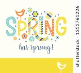 spring doodle text design with... | Shutterstock .eps vector #1352761226