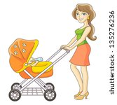 young mother and baby stroller. ... | Shutterstock . vector #135276236