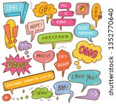 set of cute speech bubble in... | Shutterstock .eps vector #1352770640