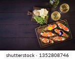 salmon sandwiches with cream... | Shutterstock . vector #1352808746