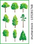 geometric trees | Shutterstock .eps vector #135281768