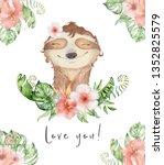 watercolor slothbears cute... | Shutterstock . vector #1352825579
