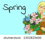fashion girl with a bouquet of...   Shutterstock .eps vector #1352825600