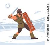ancient greek warrior fighting... | Shutterstock .eps vector #1352832356