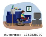scared little boy sitting on a... | Shutterstock .eps vector #1352838770