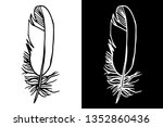 feather black and white  tattoo ... | Shutterstock . vector #1352860436