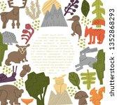 woodland forest animals vector... | Shutterstock .eps vector #1352868293
