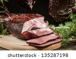 Sliced piece �¢??�¢??smoked ham with juniper - stock photo