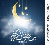 golden moon with hanging stars...   Shutterstock .eps vector #1352874896
