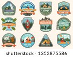 set of summer camp  canoe and... | Shutterstock .eps vector #1352875586