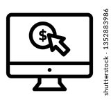 pay per click icon  line vector ... | Shutterstock .eps vector #1352883986