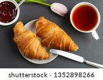 light breakfast with croissants | Shutterstock . vector #1352898266