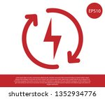 red recharging icon isolated on ... | Shutterstock .eps vector #1352934776