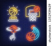 basketballs flying into hoop... | Shutterstock .eps vector #1352939639