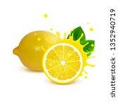 juicy whole lemon and half... | Shutterstock . vector #1352940719