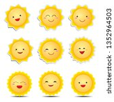cute cartoon sun emoticons | Shutterstock .eps vector #1352964503