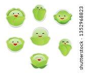 cute cartoon vegetable set... | Shutterstock .eps vector #1352968823