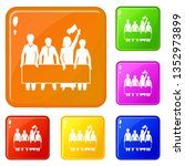 demonstration crowd icons set...   Shutterstock .eps vector #1352973899