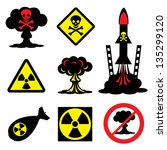 set vector icons of radiation... | Shutterstock .eps vector #135299120