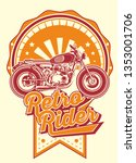 retro rider with motorbikes and ... | Shutterstock .eps vector #1353001706