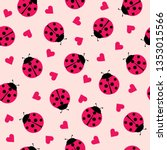 Stock vector cute ladybug and hearts seamless pattern background vector illustration 1353015566