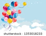 multicolored balloons on blue... | Shutterstock .eps vector #1353018233