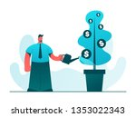 office worker watering the...   Shutterstock .eps vector #1353022343