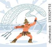 gladiator warrior retiarius in... | Shutterstock .eps vector #1353029753