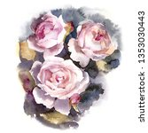 three roses. watercolor... | Shutterstock . vector #1353030443