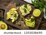 sandwiches with avocado and... | Shutterstock . vector #1353038690