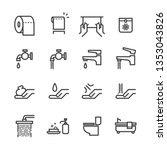 toilet vector icons set  simple ... | Shutterstock .eps vector #1353043826