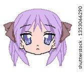 cute anime schoolgirl face.... | Shutterstock .eps vector #1353066290