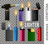 lighter set vector. fire object ... | Shutterstock .eps vector #1353075266