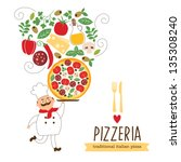 funny chef with a big pizza and ... | Shutterstock .eps vector #135308240