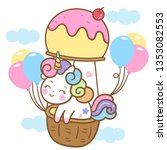 Stock vector cute unicorn vector on the sky with ice cream balloon cartoon hand drawn isolated on a white 1353082553