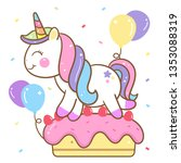 cute unicorn vector happy... | Shutterstock .eps vector #1353088319