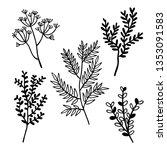 set of vintage style leaves.... | Shutterstock .eps vector #1353091583