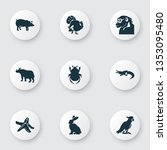 fauna icons set with rhino ... | Shutterstock .eps vector #1353095480