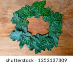green ivy leaves wreath frame... | Shutterstock . vector #1353137309
